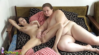 OldNanny Superannuated and young woman licking and toying