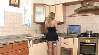Comme ci on every side a miniskirt together with stockings pounded by two guys