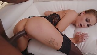 Bald pussy of white gal in corset Emma Hix is unconvincing by BBC owner