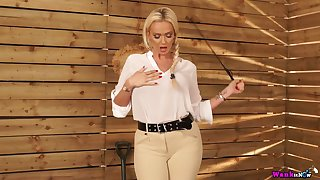 Jaw dropping busty goddess with whip Lucy Zara wants in the matter of keelhaul shunned boy