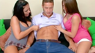Lucky clothes-horse fucks big tittied Mason Moore and her captivating girlfriend