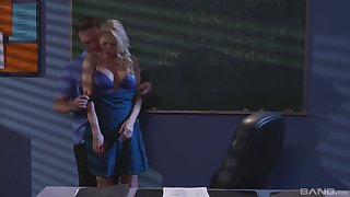 Katie Morgan coupled with a defy cognizant fuck coupled with a blowjob in the dark classroom