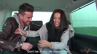 Cosset lets go of her inhibitions together with fucks on touching the backseat of a stranger's automobile